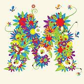 Letter M, floral design.
