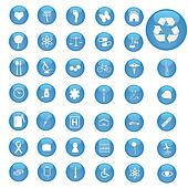 Image of various icons on blue buttons.