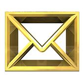 envelope email symbol in gold (3d)