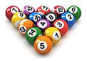 Set of color billiard balls