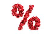 Red roses symbol % isolated on white background