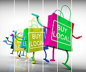 Buy Local Shopping Bags Represent Neighborhood Business and Mark