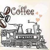 Coffee vintage background with coffee grains and coffee mill looks like train