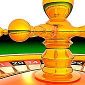 Detail of the golden roulette wheel