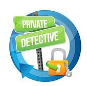 private detective lock road sign concept