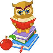 Wise Owl sitting on Pile book