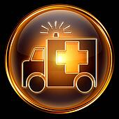 First aid icon golden, isolated on black background.
