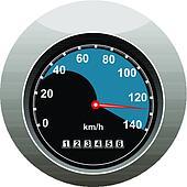 Car speedometer showing someone speeding