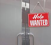 Help Wanted sign on business door