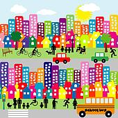 Cartoon city with people pictograms