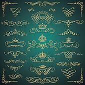 Vector Golden Vintage Hand Drawn Swirls and Crowns