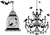 antique birdcage and chandelier