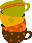 four colorful cups, vector illustration
