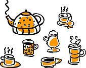 set of beverage cups and tea pot