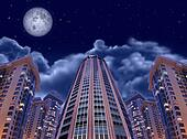 night buildings on sky and moon, collage