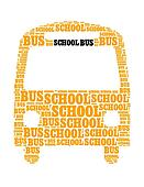 school bus collage Composed in the shape of bus