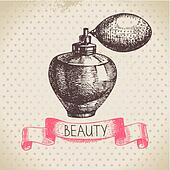 Beauty sketch background. Vintage hand drawn vector illustration