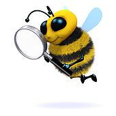3d Bee magnifies