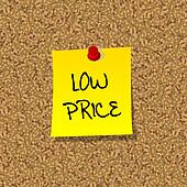 Yellow stick note paper with words LOW PRICE pinned on cork boar