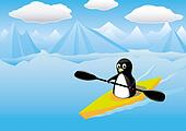 Vector Image - Penguin Kayak