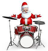 Santa claus with drum set