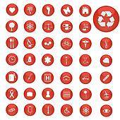 Image of various icons on red buttons.