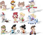 happy cartoon children playing