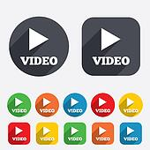 Play video sign icon. Player navigation symbol.
