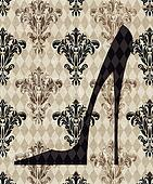 High Heeled Shoe on a Taupe Damask Background