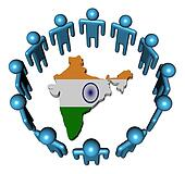 Circle of abstract people around India map flag illustration