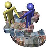 meeting on Euro symbol with euros illustration