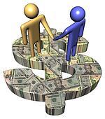 meeting on dollar symbol with American dollars