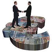 business men meeting on giant Euro symbol illustration