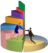 Business woman helping hand businessman up pie chart