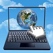 Cursor hand clicks internet cloud world