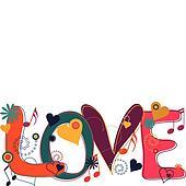 Love Text in Hippie Brights