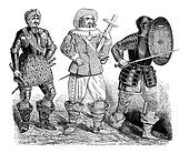 Military uniforms from the reign of Charles I, vintage engraving.