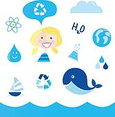 Water recycle icons