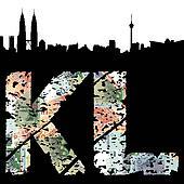 Kuala Lumpur grunge text with skyline