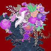 Vintage kimono floral motif