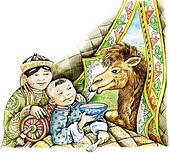 Sick boy and a camel