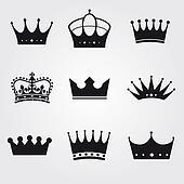 monochrome vintage antique crowns