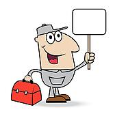 man locksmith with  a gripsack