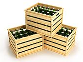 Wooden boxes with green beer bottle