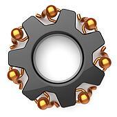 Partnership teamwork community black gearwheel business