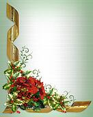 Christmas card border holly floral