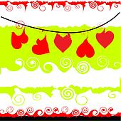 Valentine frame with place for your text, Hearts hang on a cord