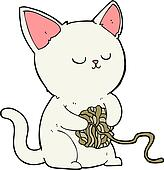 cartoon cat playing with ball of yarn