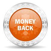 money back orange icon, christmas button