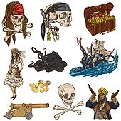 Pirates - colored full sized hand drawn illustrations no.2